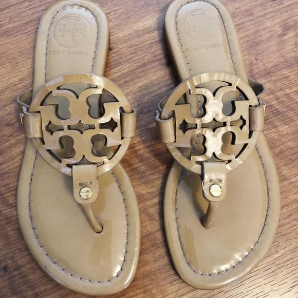 5e4dadf9d Tory Burch Shoes - Tory Burch Miller Flat Leather Logo Slide Sandal